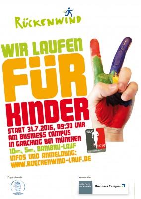 """Rückenwindlauf zugunsten der """"Initiative krebskranke Kinder München e. V."""" am Business Campus @ Business Campus Garching"""