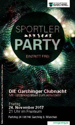 DIE GARCHINGER CLUBNACHT – AM 24. NOVEMBER IST SPORTLERPARTY! @ Freiraum, Parkring 24